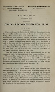 Cover of: Grains recommended for trial