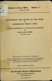 Cover of: Concerning the relief of the poor; or, Concerning human need