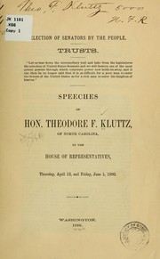 Cover of: Election of senators by the people | Theodore F. Kluttz