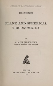 Cover of: Elements of plane and spherical trigonometry