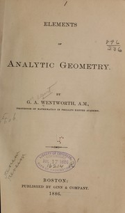 Cover of: Elements of analytic geometry
