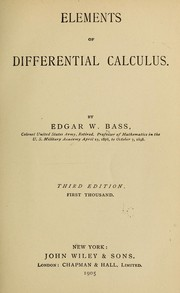 Cover of: Elements of differential calculus | Edgar W. Bass