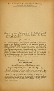 Cover of: Remarks on some copepoda from the Falkland Islands collected by Mr. Rupert Valletin | Thomas Scott