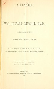 Cover of: A letter to Wm. Howard Russell, LL. D.