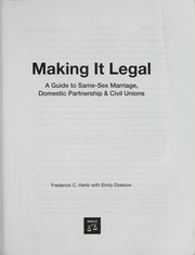 Cover of: Making it legal | Frederick Hertz
