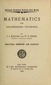 Cover of: Mathematics for engineering students, Analytical geometry and calculus | S. S. Keller