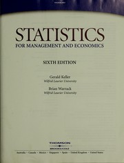 Cover of: Statistics for management and economics | Gerald Keller