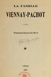 Cover of: La famille Viennay-Pachot
