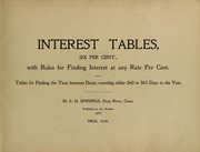 Cover of: Interest tables, six per cent | Simeon Hinman Jennings