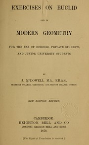 Cover of: Exercises on Euclid and in modern geometry for the use of schools, private students, and junior university students