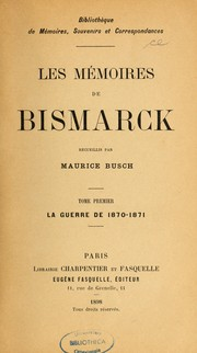 Cover of: Les Mémoires de Bismarck
