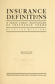 Cover of: Insurance definitions | Irving Williams