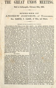 Cover of: The Great Union Meeting, held at Indianapolis, February 26th, 1863