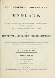 Cover of: A topographical dictionary of England | Lewis, Samuel