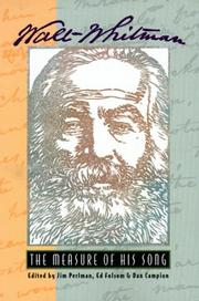 Cover of: Walt Whitman--the measure of his song