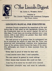 Cover of: Lincoln's manual for executives