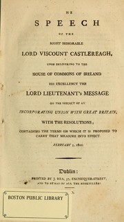 Cover of: The speech of the Right Honorable Lord Viscount Castlereagh