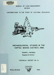 Cover of: Archaeological studies in the Cortez mining district, 1982