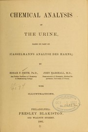 Cover of: Chemical analysis of the urine