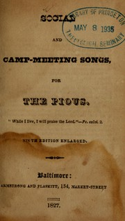 Social and camp meeting songs, for the pious by