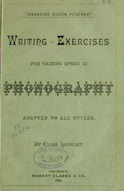 Cover of: Writing exercises for gaining speed in phonography, adapted to all styles