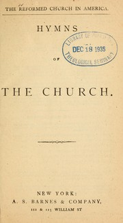 Cover of: Hymns of the church | Reformed Church in America