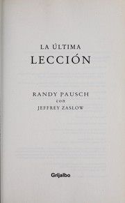 Cover of: La última lección | Randy Pausch