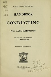 Cover of: Handbook of conducting | Carl Schroeder