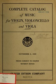 Cover of: Catalog of music for the violin, violoncello and viola
