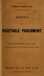 Cover of: Report on vegetable parchment