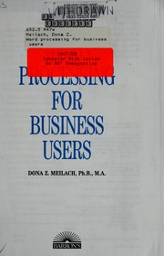 Cover of: Word processing for business users