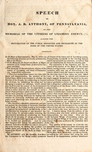 Cover of: Speech of Hon. J.B. Anthony, of Pennsylvania