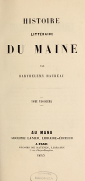 Cover of: Histoire littڳeraire du Maine