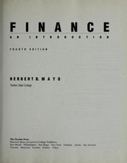 Cover of: Finance | Herbert B. Mayo