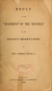 "Cover of: Reply to the ""Statement of the trustees"" of the Dudley Observatory"
