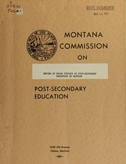 Cover of: Review of prior studies of post-secondary education in Montana