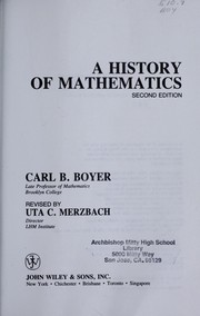 Cover of: A history of mathematics | Carl B. Boyer