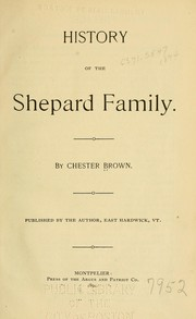 Cover of: History of the Shepard family | Chester Brown