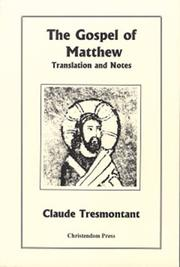 Cover of: The Gospel of Matthew | Claude Tresmontant