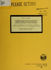 Cover of: State of Montana Comprehensive Employment and Training Act subgrant numbers 76-56048 and 76-56049 awarded to the Board of Public Education
