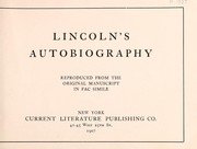 Cover of: Lincoln's autobiography