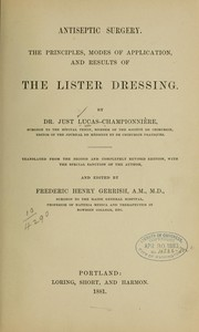 Cover of: Antiseptic surgery