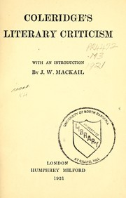 Cover of: Coleridge's literary criticism