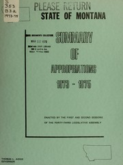 Cover of: Summary of appropriations enacted by the 43rd legislative assembly, Montana 1973-1975