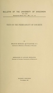 Cover of: Tests on the permeability of concrete ...