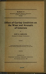 Cover of: Effect of curing condition on the wear and strength of concrete