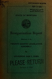 Cover of: Reorganization report submitted to the twenty-eighth Legislative assembly by Governor Sam C. Ford
