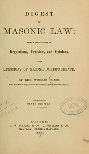 Cover of: Digest of masonic law