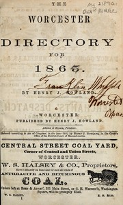 Cover of: The Worcester directory for 1865 by Henry J. Howland