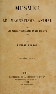 Cover of: Mesmer et le magnétisme animal